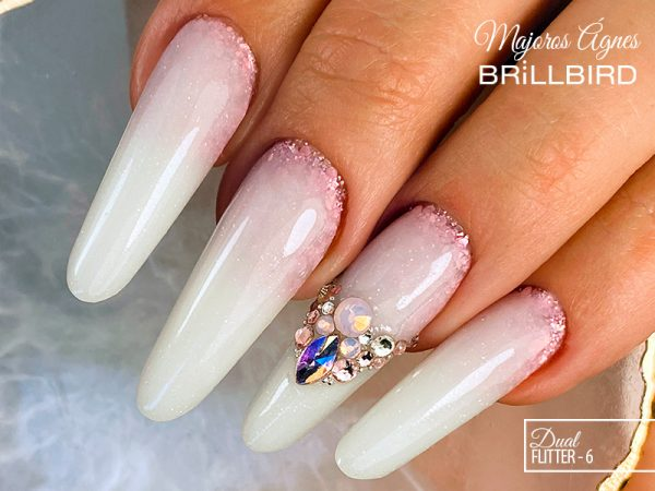 Best Nail Desing, Babyboomer, Latte ombre, Dual Sequin 6.
