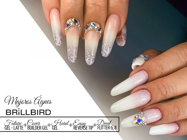 Best Nail Desing, Babyboomer, Latte ombre, Dual Sequin 8, 6.